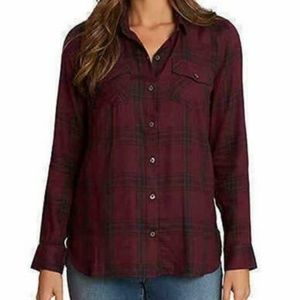 Jessica Simpson Petunia Button-up Shirt Wine/black